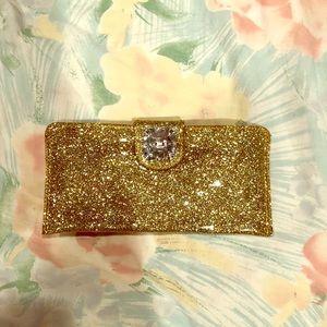 Deux Lux Gold glitter wristlet/wallet